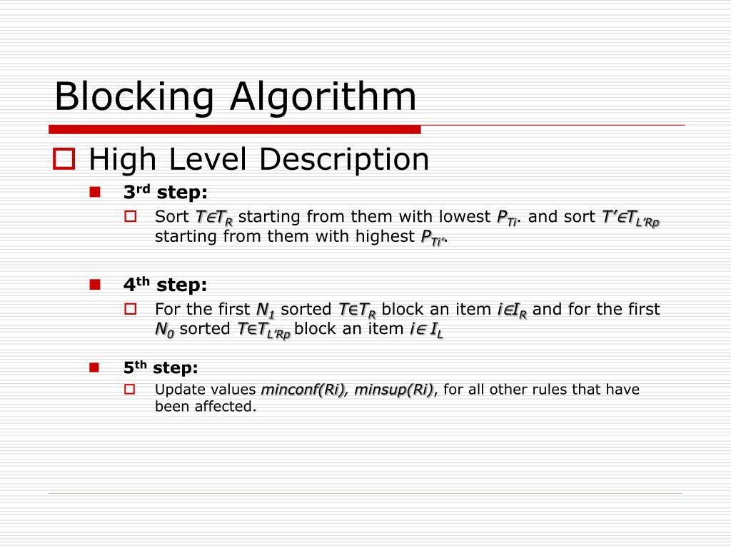 Blocking Algorithm