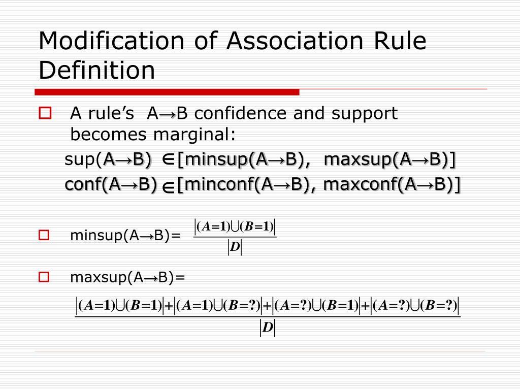 Modification of Association Rule Definition