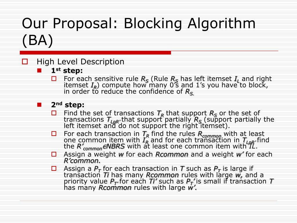Our Proposal: Blocking Algorithm (BA)