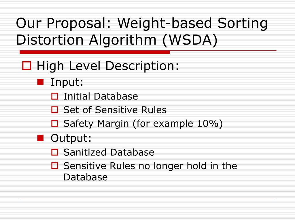 Our Proposal: Weight-based Sorting Distortion Algorithm (WSDA)
