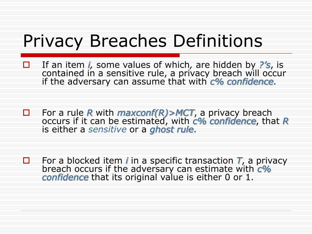 Privacy Breaches Definitions