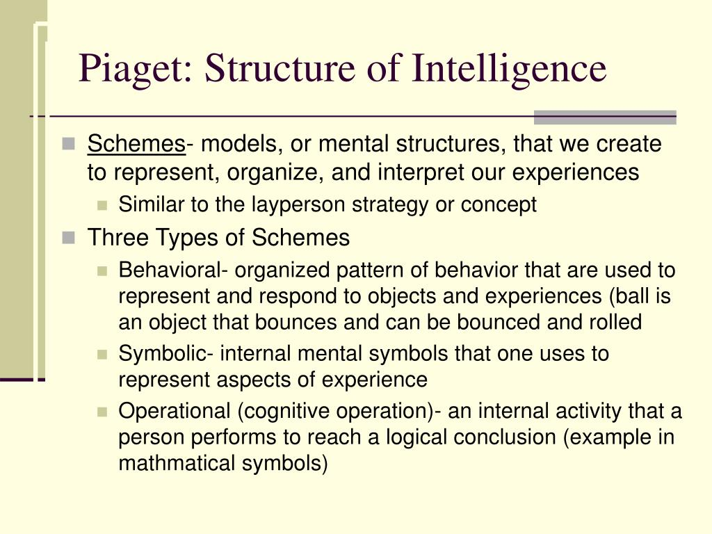 Piaget: Structure of Intelligence