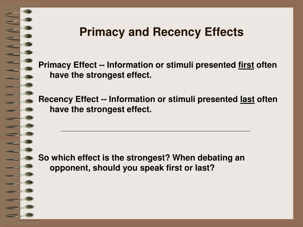 Primacy and Recency Effects