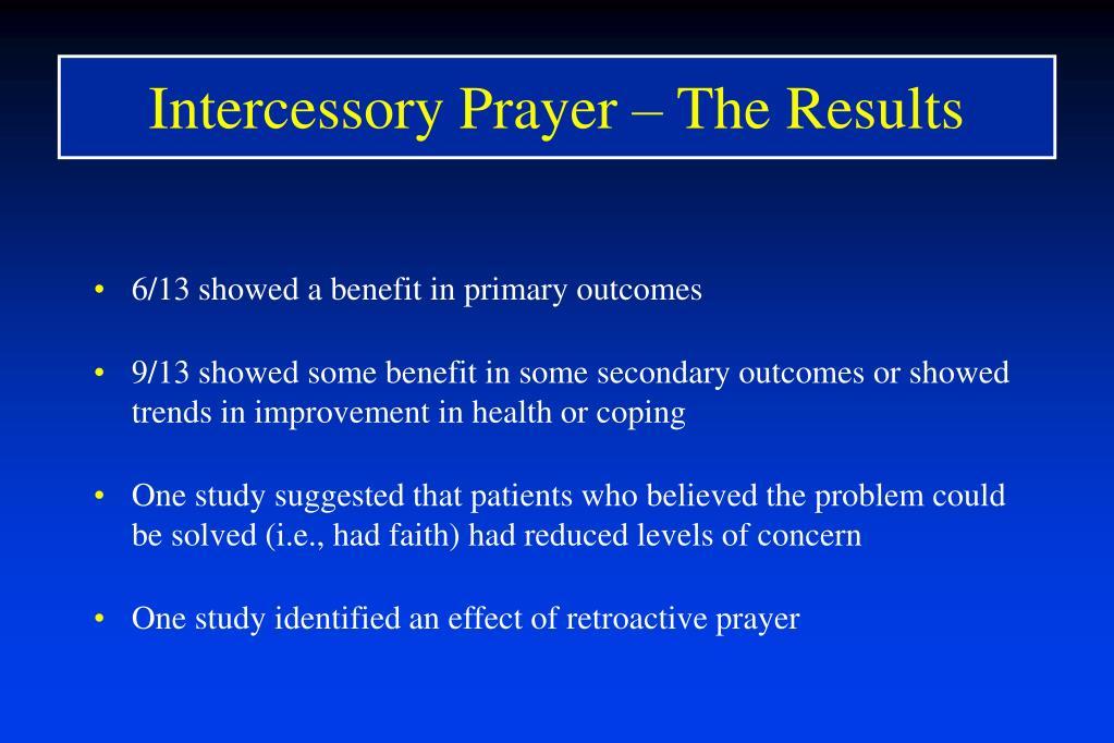 Intercessory Prayer – The Results