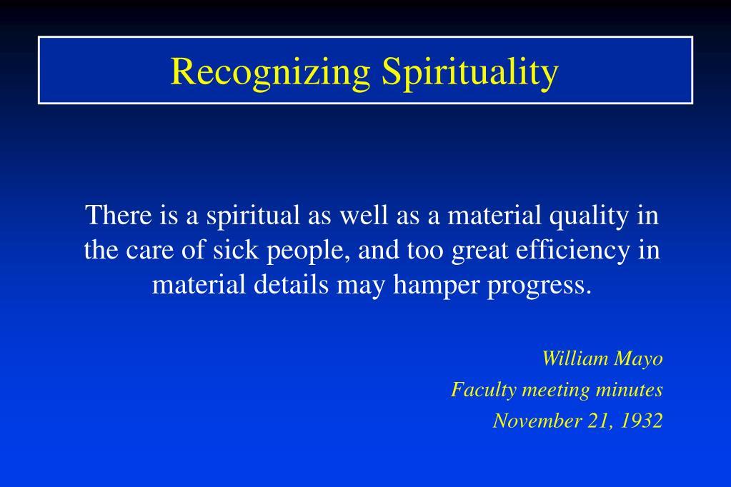 Recognizing Spirituality