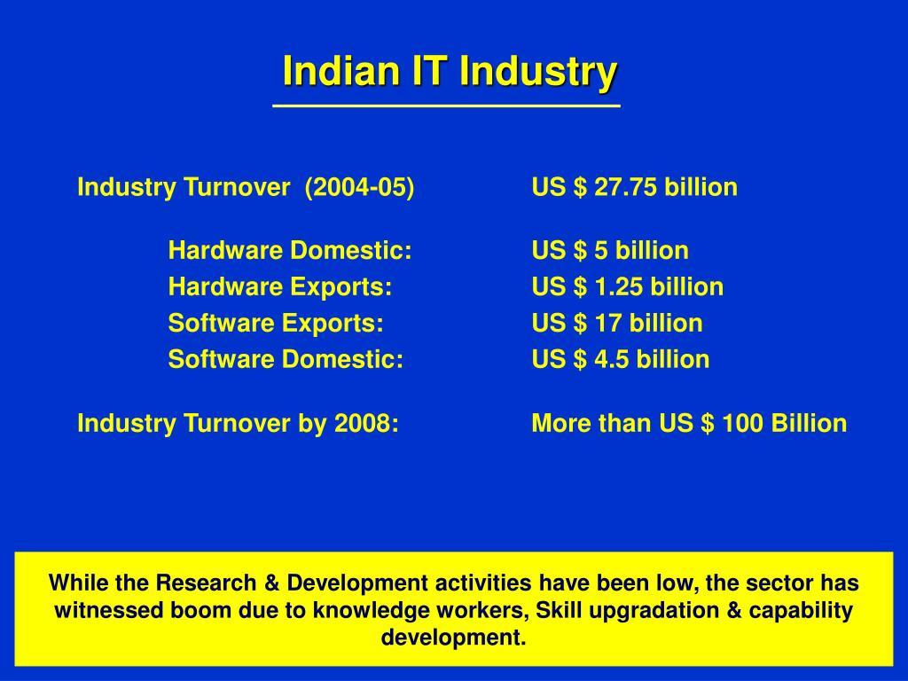 Industry Turnover  (2004-05)  US $ 27.75 billion