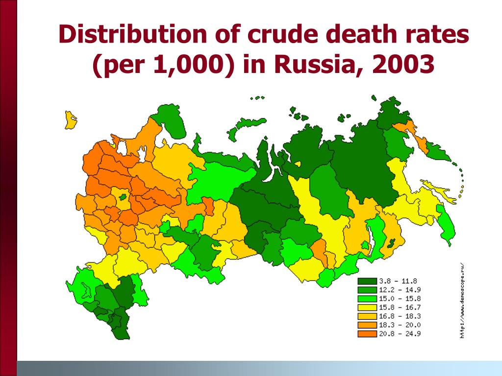 Distribution of crude death rates (per 1,000) in Russia, 2003
