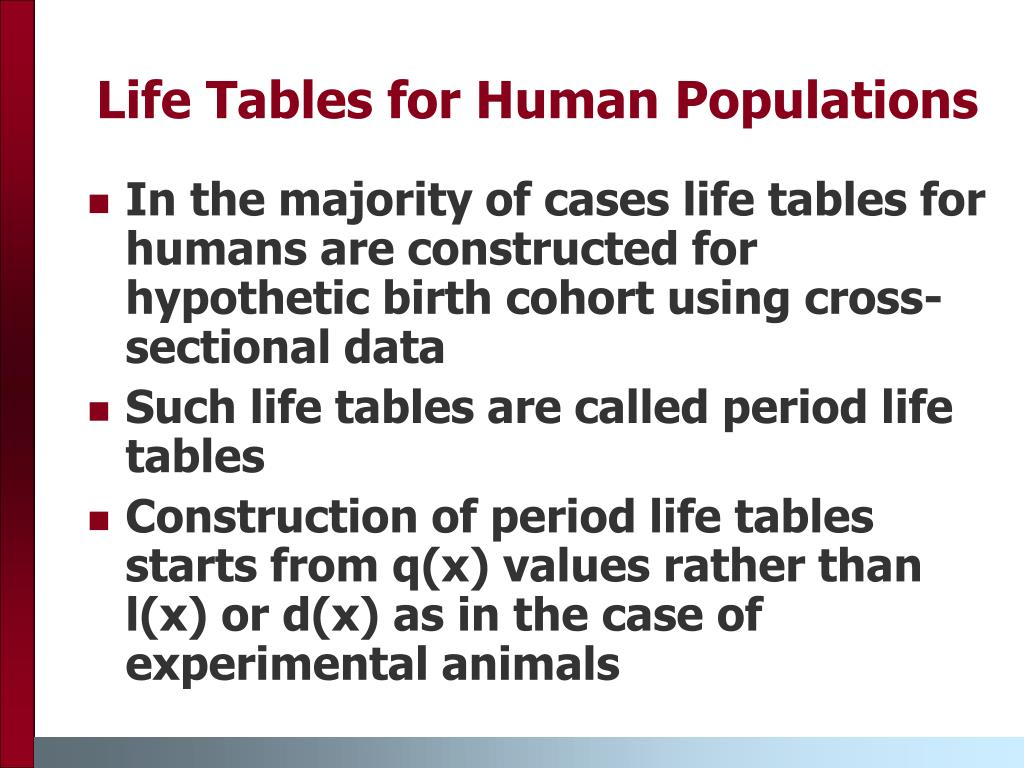 Life Tables for Human Populations