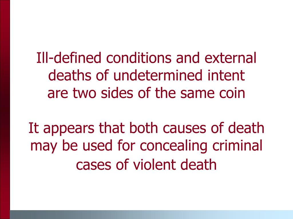 Ill-defined conditions and external deaths of undetermined intent
