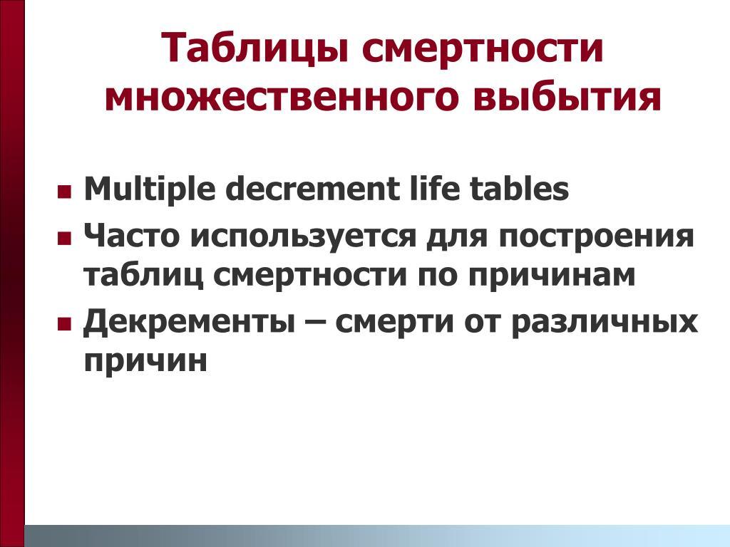 Таблицы смертности множественного выбытия