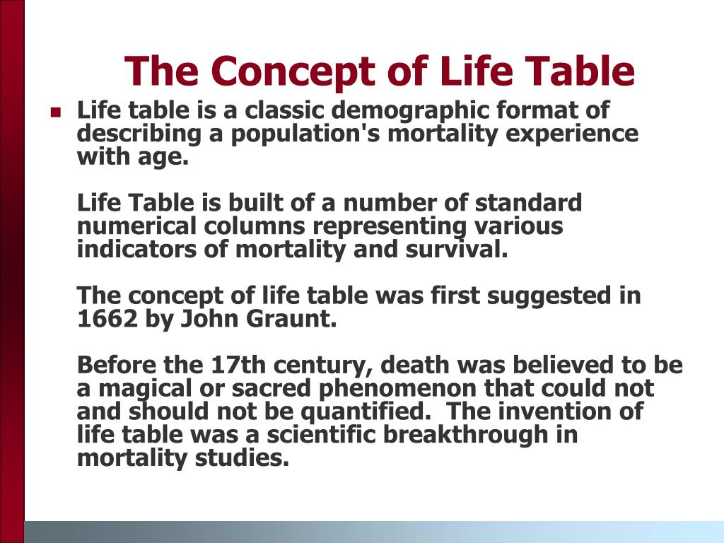 The Concept of Life Table