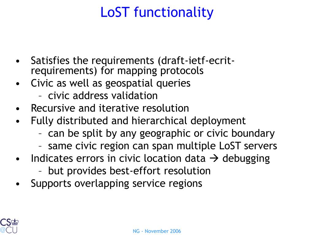 LoST functionality