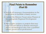 final points to remember part ii