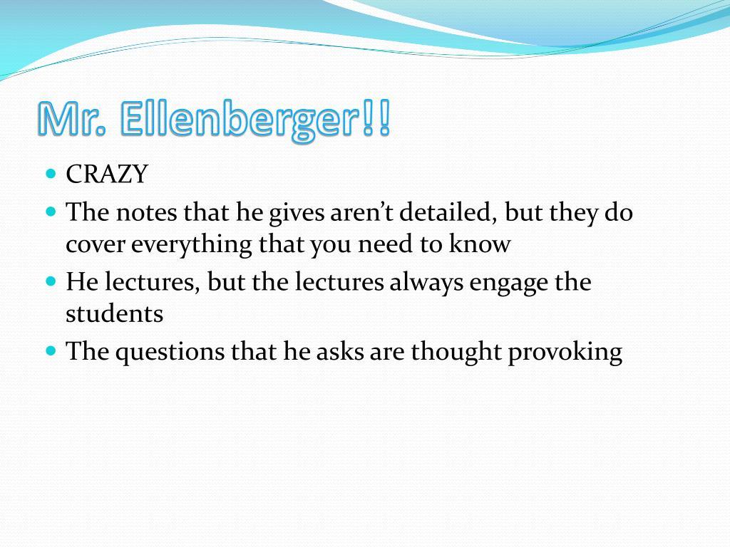 Mr. Ellenberger!!