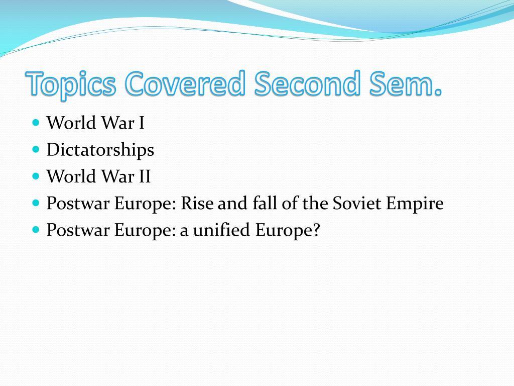 Topics Covered Second Sem.