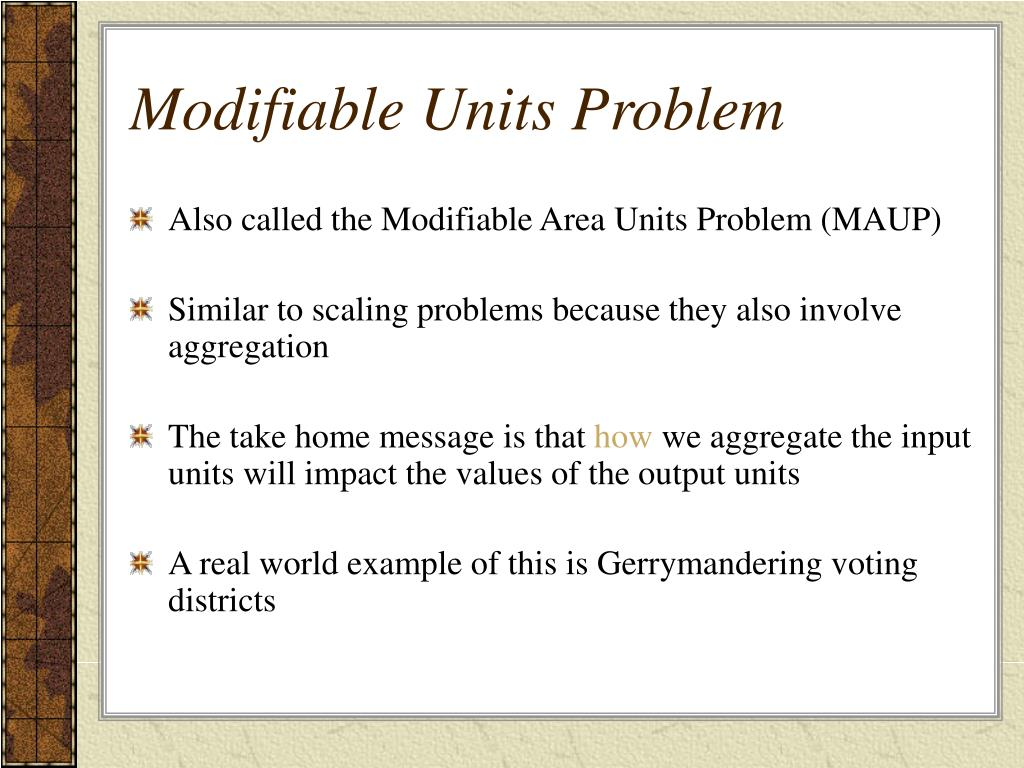 Modifiable Units Problem