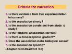 criteria for causation