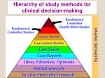 hierarchy of study methods for clinical decision making