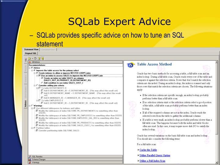 SQLab Expert Advice