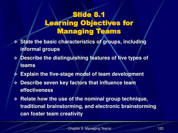 Slide 8 1 learning objectives for managing teams