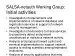 salsa netauth working group initial activities