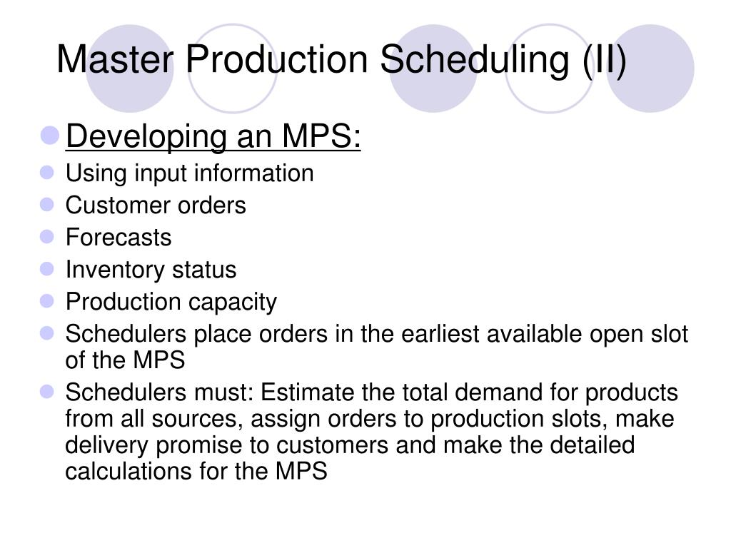 Master Production Scheduling (II)