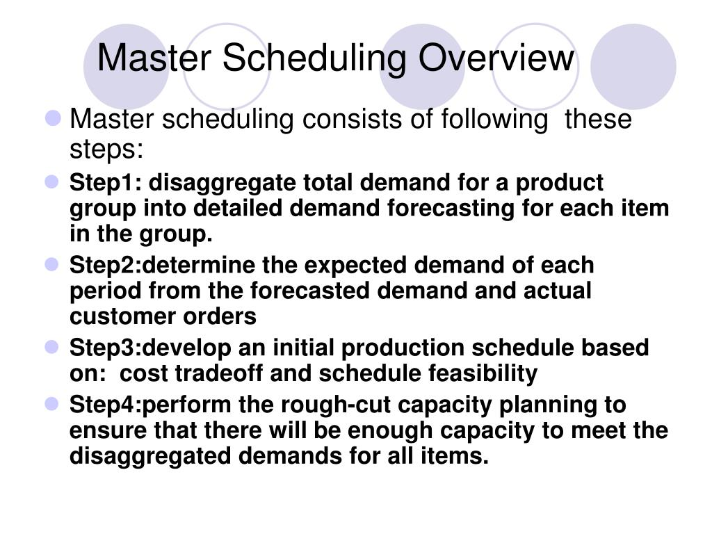 Master Scheduling Overview