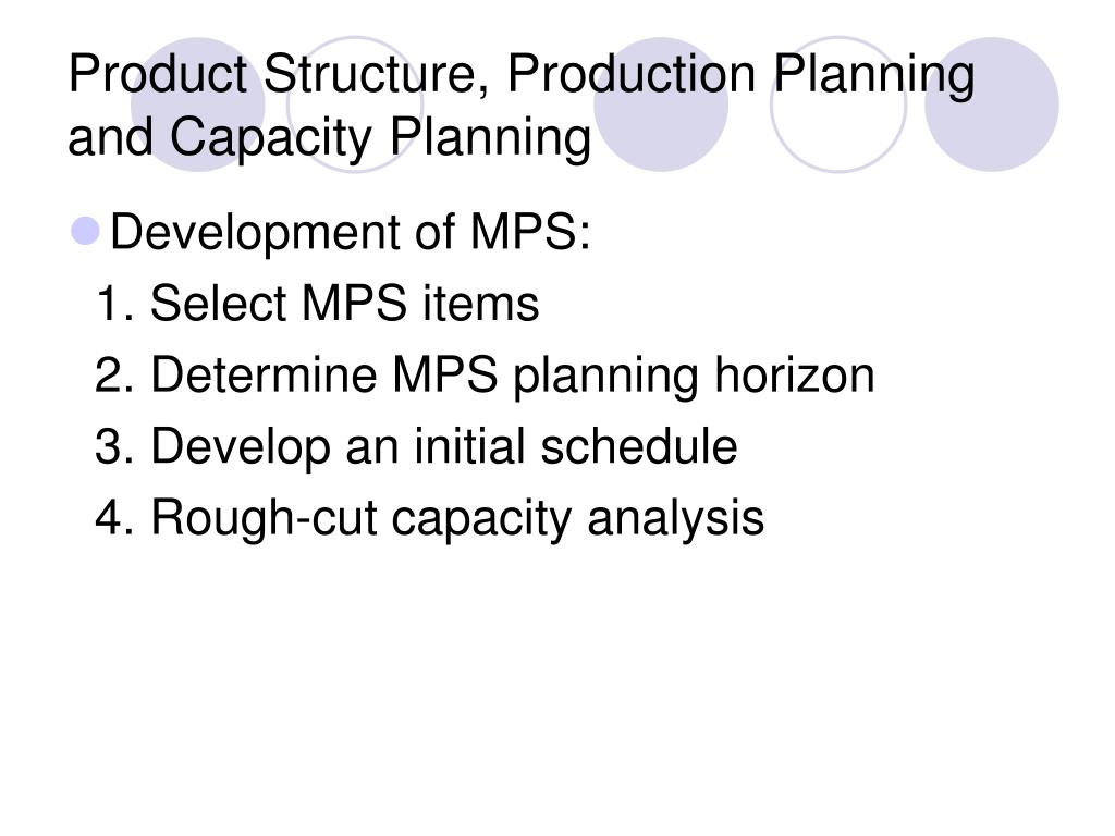 Product Structure, Production Planning and Capacity Planning