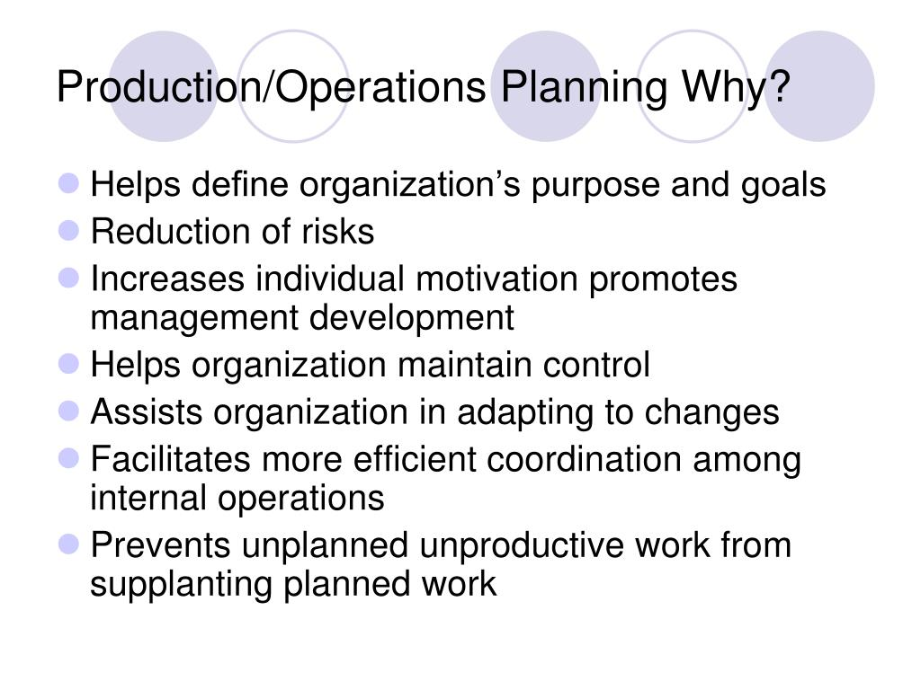 Production/Operations Planning Why?