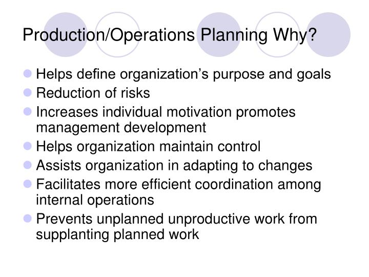 Production operations planning why