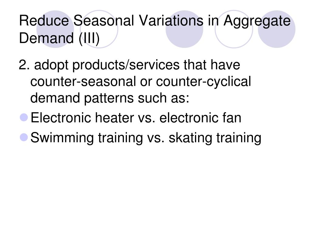 Reduce Seasonal Variations in Aggregate Demand (III)