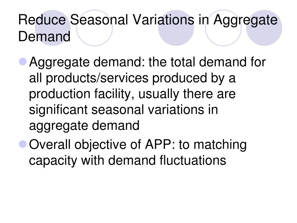 Reduce Seasonal Variations in Aggregate Demand