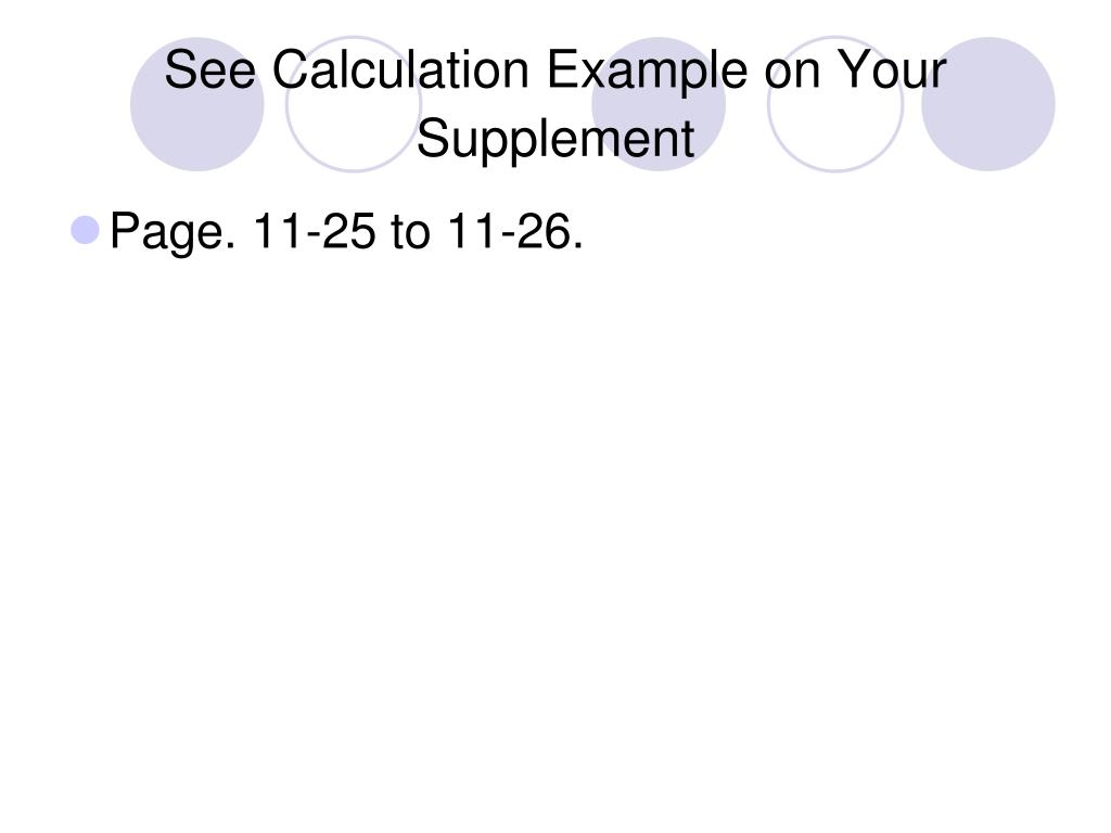 See Calculation Example on Your Supplement