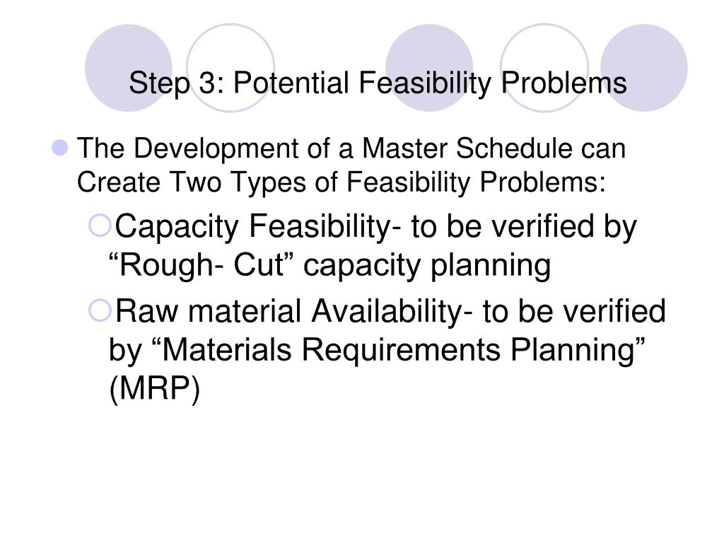 Step 3: Potential Feasibility Problems