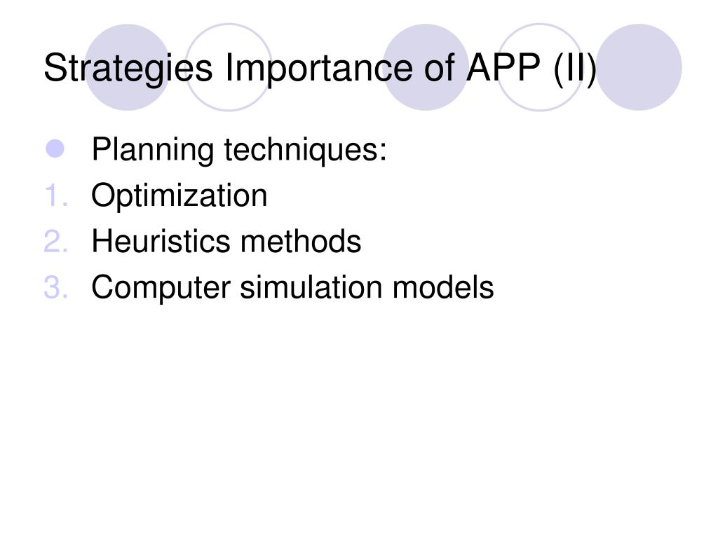 Strategies Importance of APP (II)