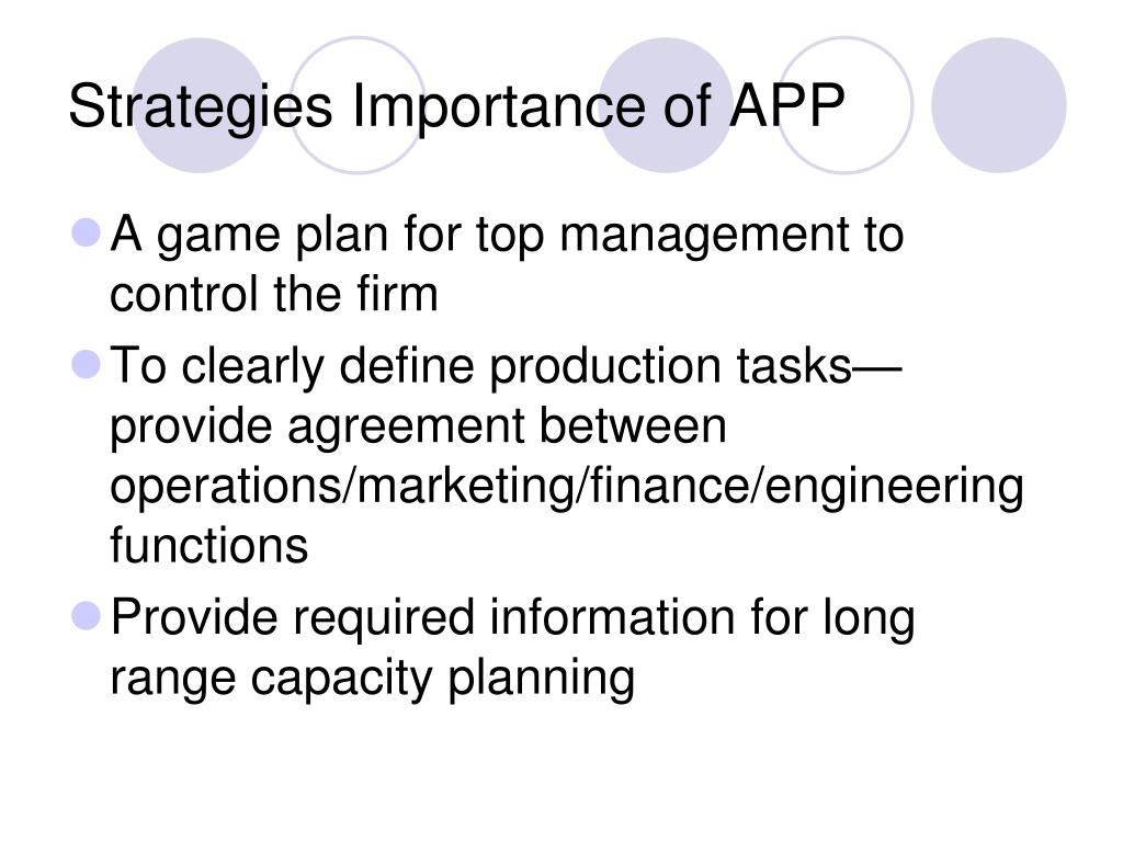 Strategies Importance of APP