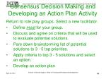 consensus decision making and developing an action plan activity