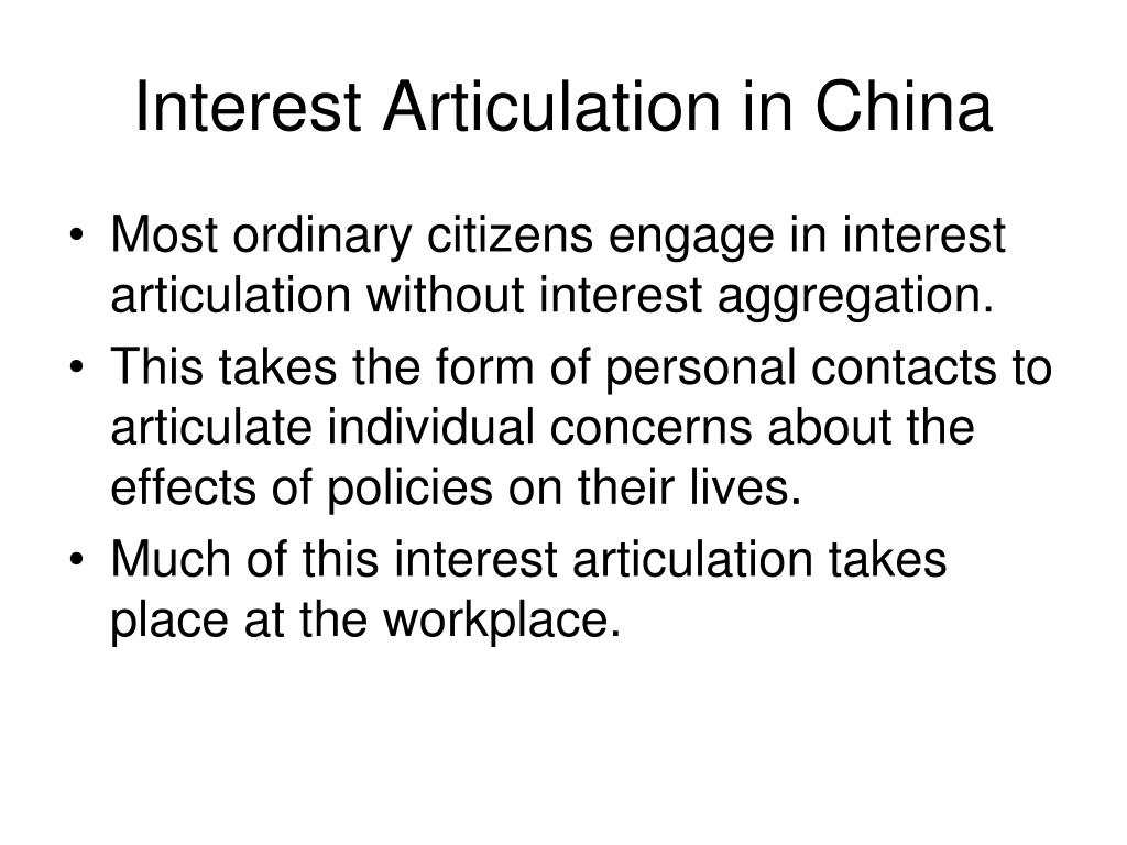 Interest Articulation in China