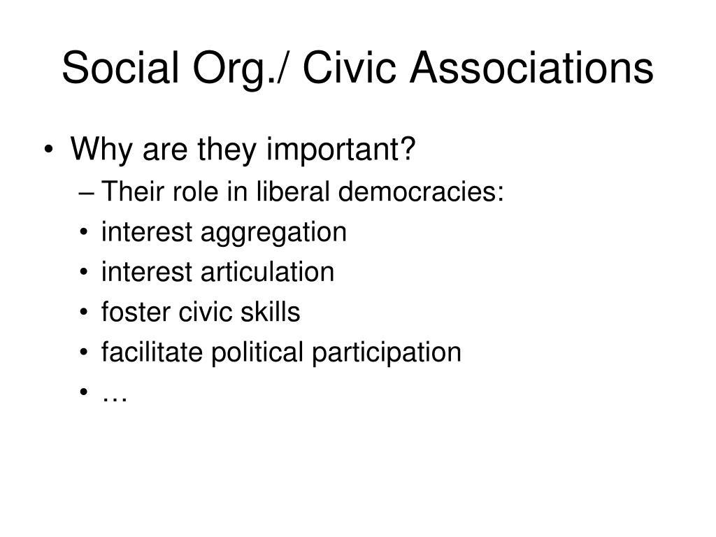 Social Org./ Civic Associations