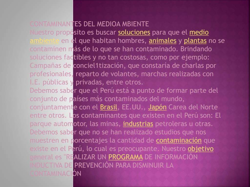 CONTAMINANTES DEL MEDIOA MBIENTE