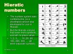 hieratic numbers