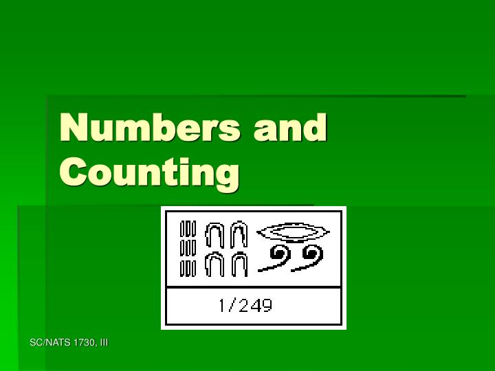 numbers and counting n.