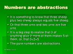 numbers are abstractions