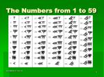 the numbers from 1 to 59