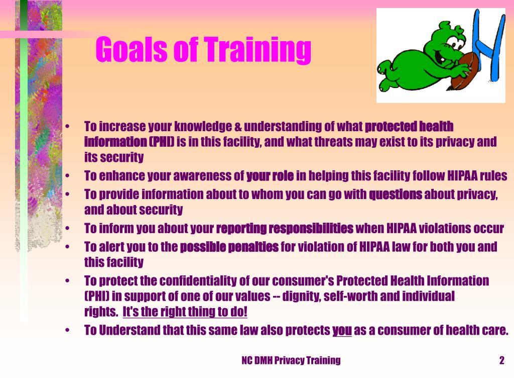 Goals of Training