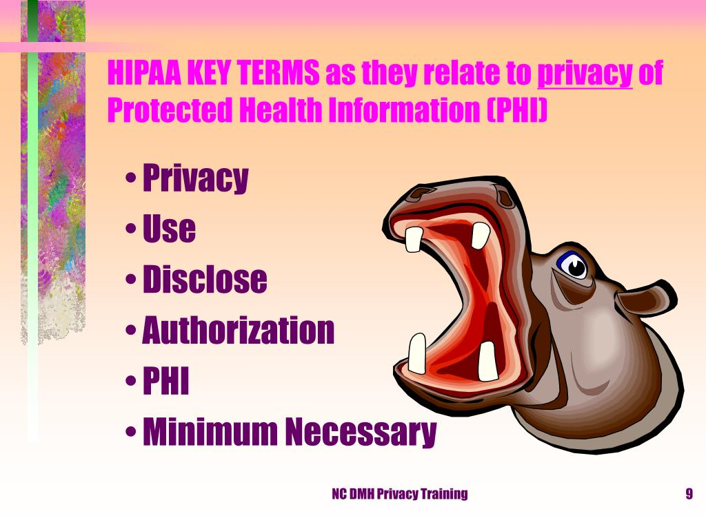 HIPAA KEY TERMS as they relate to