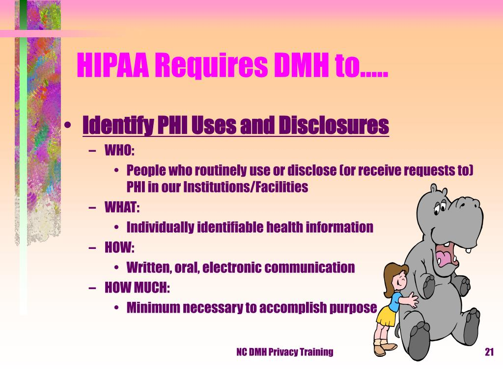 HIPAA Requires DMH to…..