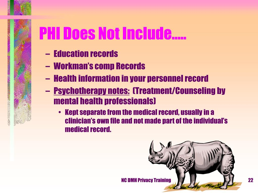 PHI Does Not Include…..