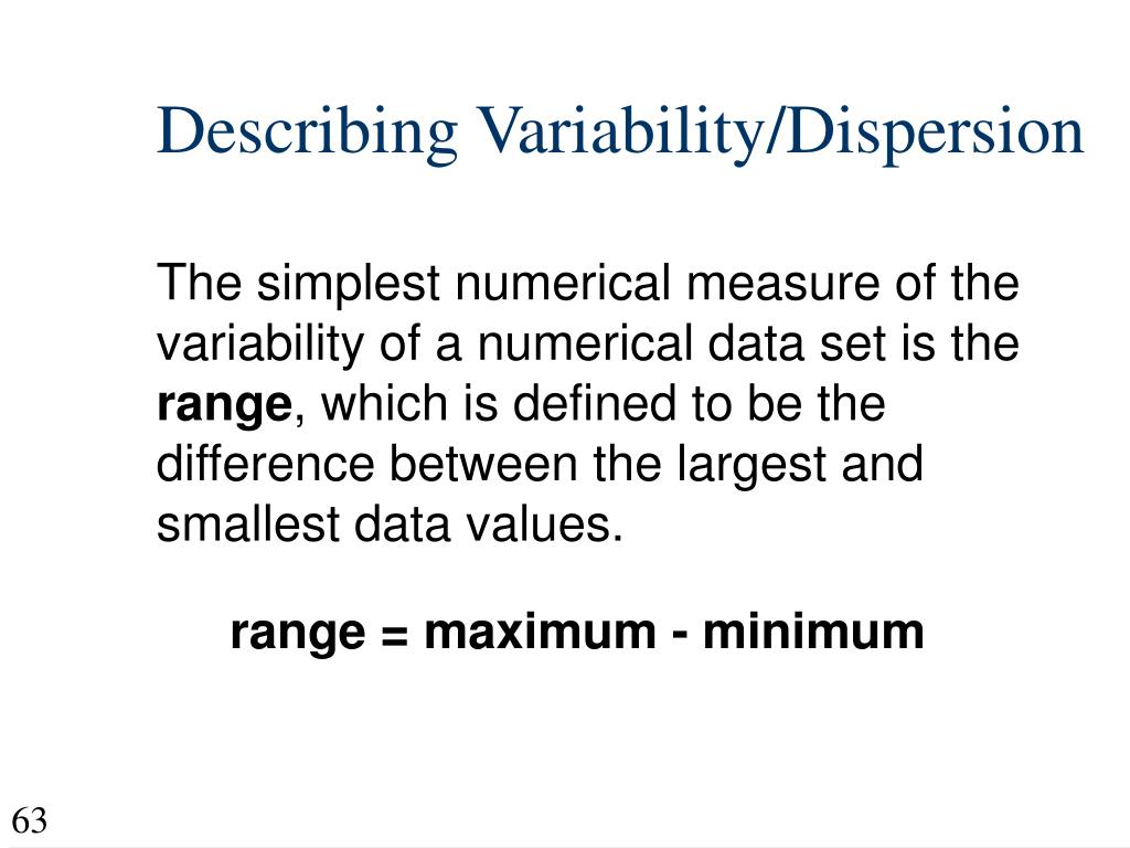 Describing Variability/Dispersion