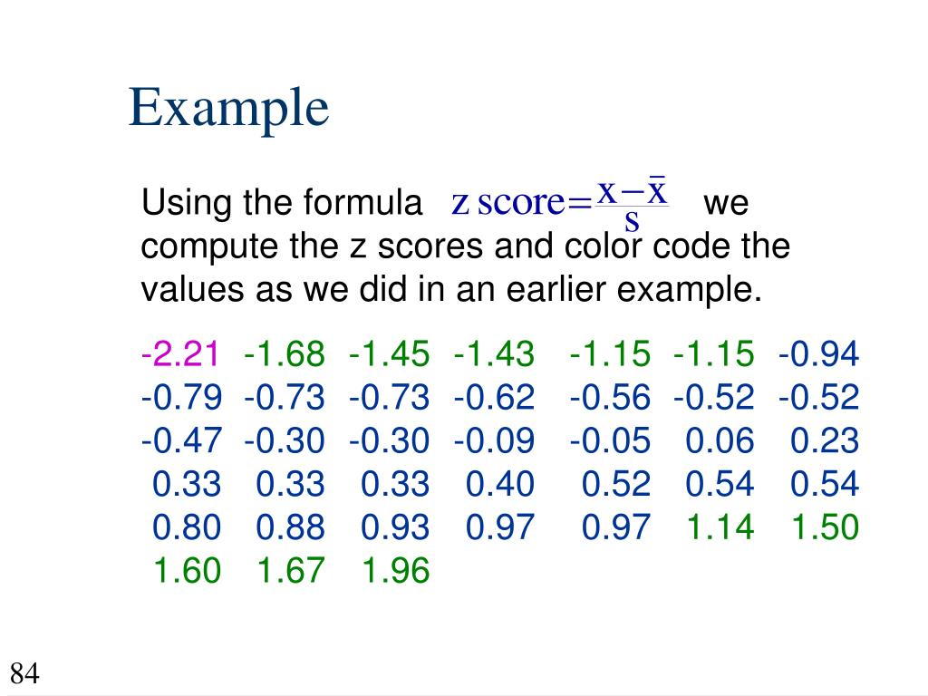 Using the formula                            we compute the z scores and color code the values as we did in an earlier example.